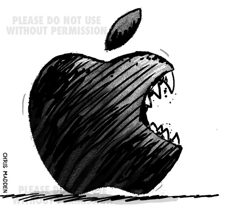 Apple logo with teeth - cartoon